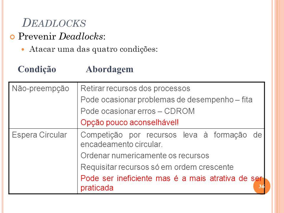 D EADLOCKS Não-preempçãoRetirar recursos dos processos Pode ocasionar problemas de desempenho – fita Pode ocasionar erros – CDROM Opção pouco aconselh