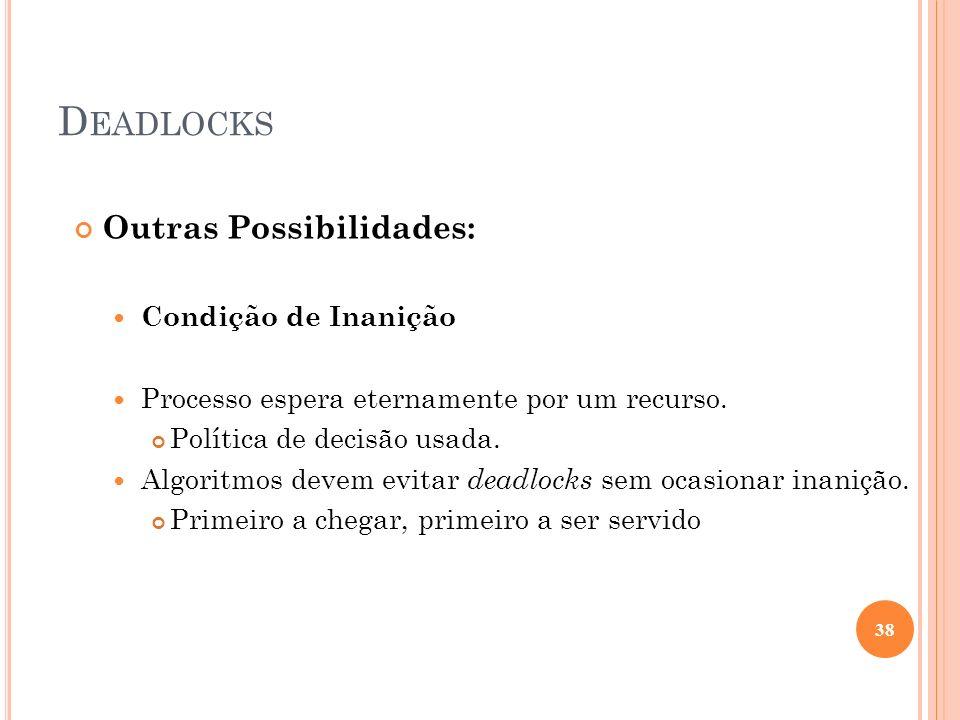 D EADLOCKS Outras Possibilidades: Condição de Inanição Processo espera eternamente por um recurso. Política de decisão usada. Algoritmos devem evitar