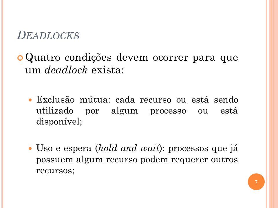 D EADLOCKS Quatro condições devem ocorrer para que um deadlock exista: Exclusão mútua: cada recurso ou está sendo utilizado por algum processo ou está