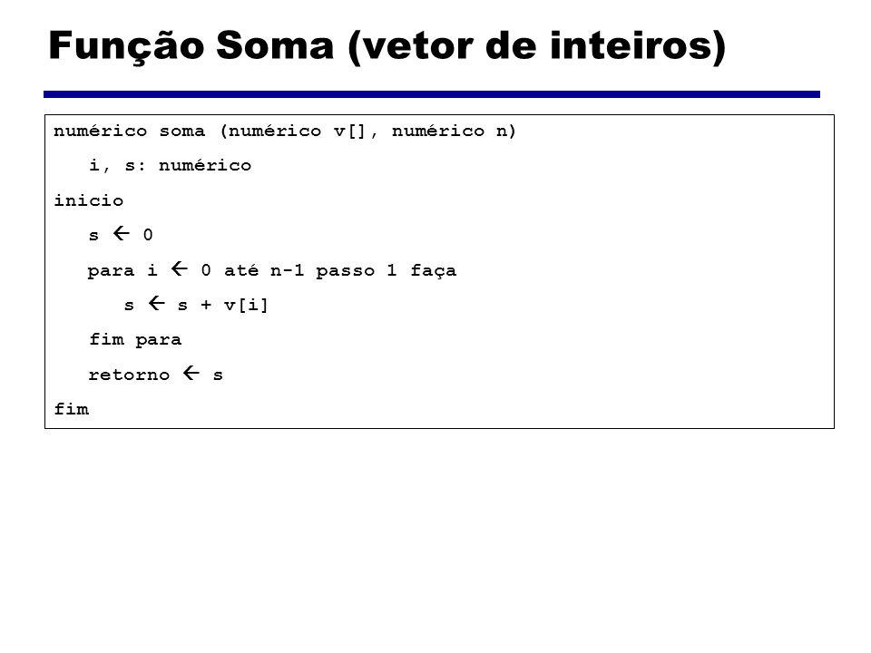 Função Soma (vetor de inteiros) numérico soma (numérico v[], numérico n) i, s: numérico inicio s 0 para i 0 até n-1 passo 1 faça s s + v[i] fim para r