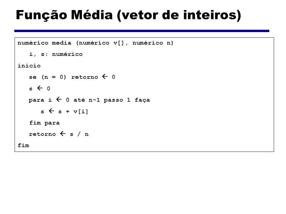 Função Média (vetor de inteiros) numérico media (numérico v[], numérico n) i, s: numérico inicio se (n = 0) retorno 0 s 0 para i 0 até n-1 passo 1 faç
