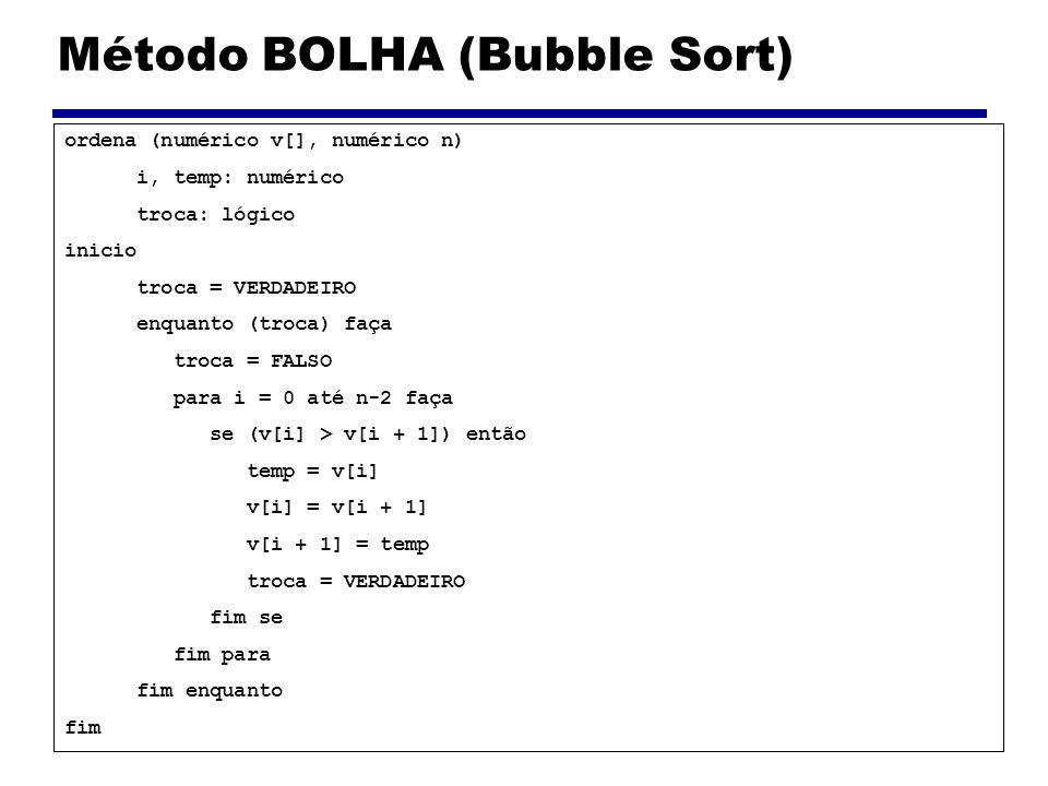Método BOLHA (Bubble Sort) ordena (numérico v[], numérico n) i, temp: numérico troca: lógico inicio troca = VERDADEIRO enquanto (troca) faça troca = F