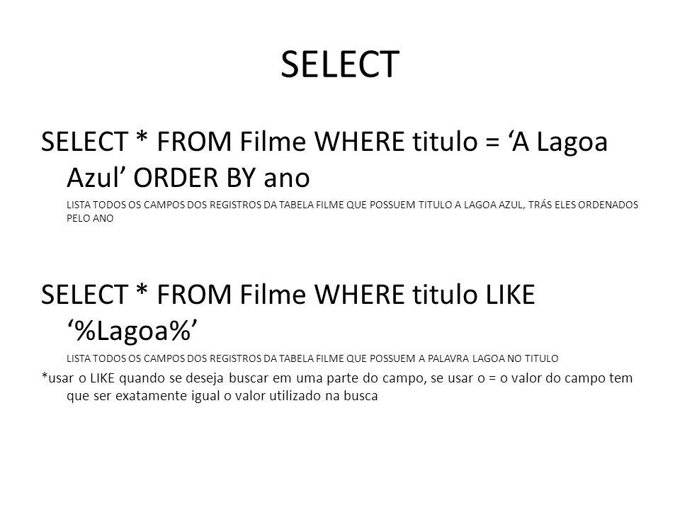 SELECT SELECT * FROM Filme WHERE titulo = A Lagoa Azul ORDER BY ano LISTA TODOS OS CAMPOS DOS REGISTROS DA TABELA FILME QUE POSSUEM TITULO A LAGOA AZU