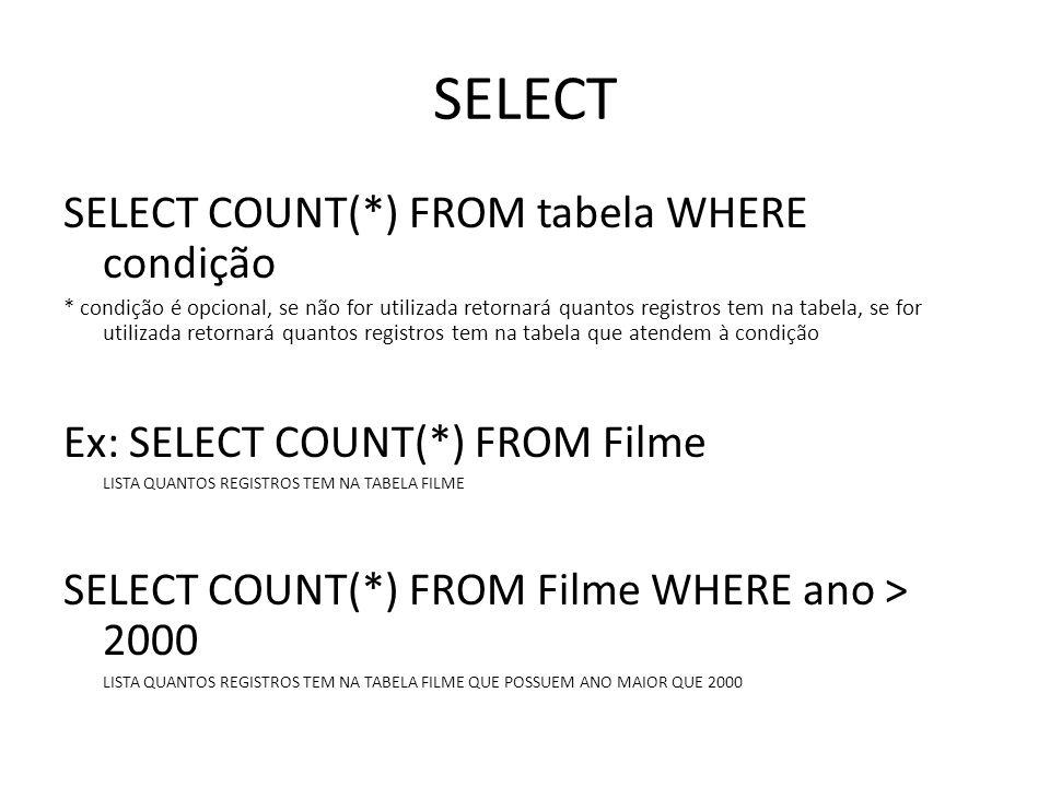 SELECT SELECT COUNT(*) FROM tabela WHERE condição * condição é opcional, se não for utilizada retornará quantos registros tem na tabela, se for utiliz