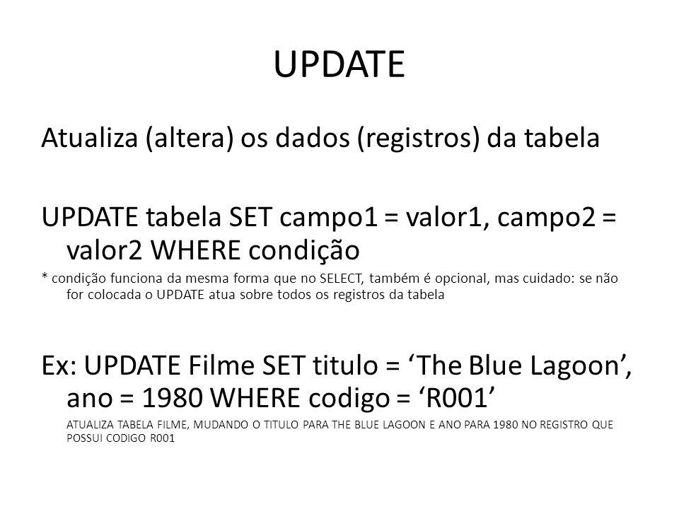 UPDATE Atualiza (altera) os dados (registros) da tabela UPDATE tabela SET campo1 = valor1, campo2 = valor2 WHERE condição * condição funciona da mesma