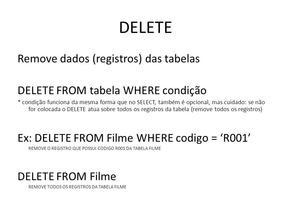 DELETE Remove dados (registros) das tabelas DELETE FROM tabela WHERE condição * condição funciona da mesma forma que no SELECT, também é opcional, mas