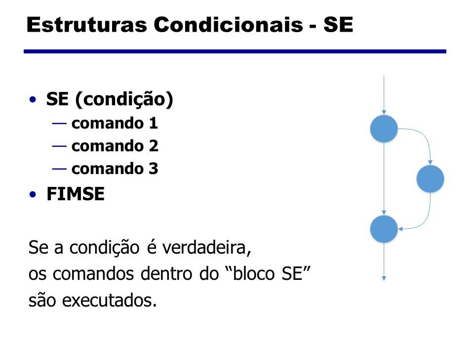 Estruturas Condicionais – SE e SENÃO SE (condição) comando 1 comando 2 SENÃO comando 3 comando 4 FIMSE Se a condição é verdadeira bloco SE Caso contrário bloco SENÃO