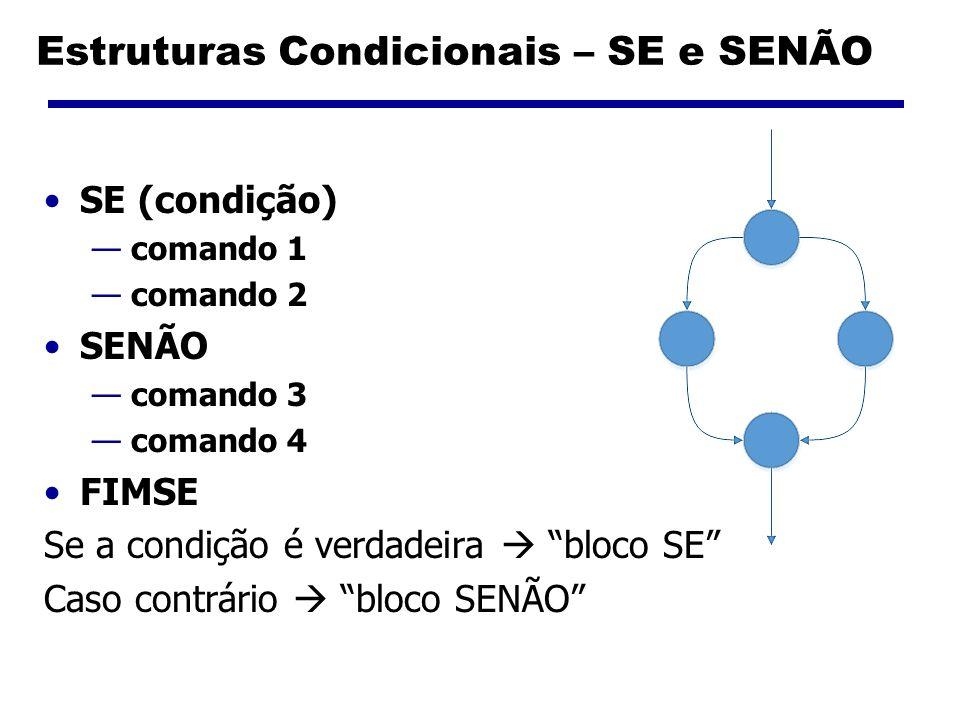 Estruturas Condicionais – SE e SENÃO SE (condição) comando 1 comando 2 SENÃO comando 3 comando 4 FIMSE Se a condição é verdadeira bloco SE Caso contrá