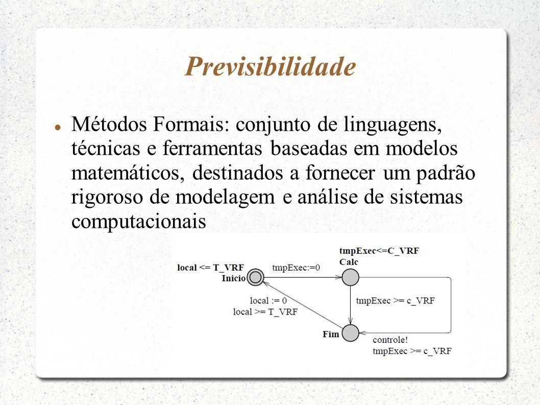 Previsibilidade Métodos Formais: conjunto de linguagens, técnicas e ferramentas baseadas em modelos matemáticos, destinados a fornecer um padrão rigor