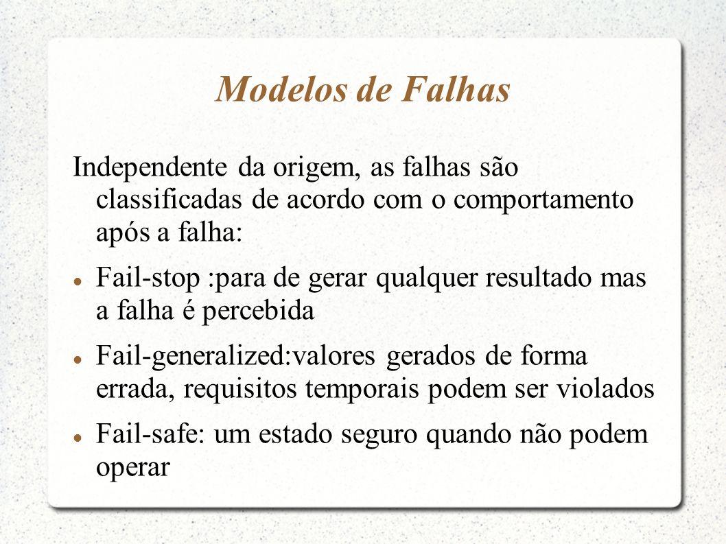 Modelos de Falhas Independente da origem, as falhas são classificadas de acordo com o comportamento após a falha: Fail-stop :para de gerar qualquer re
