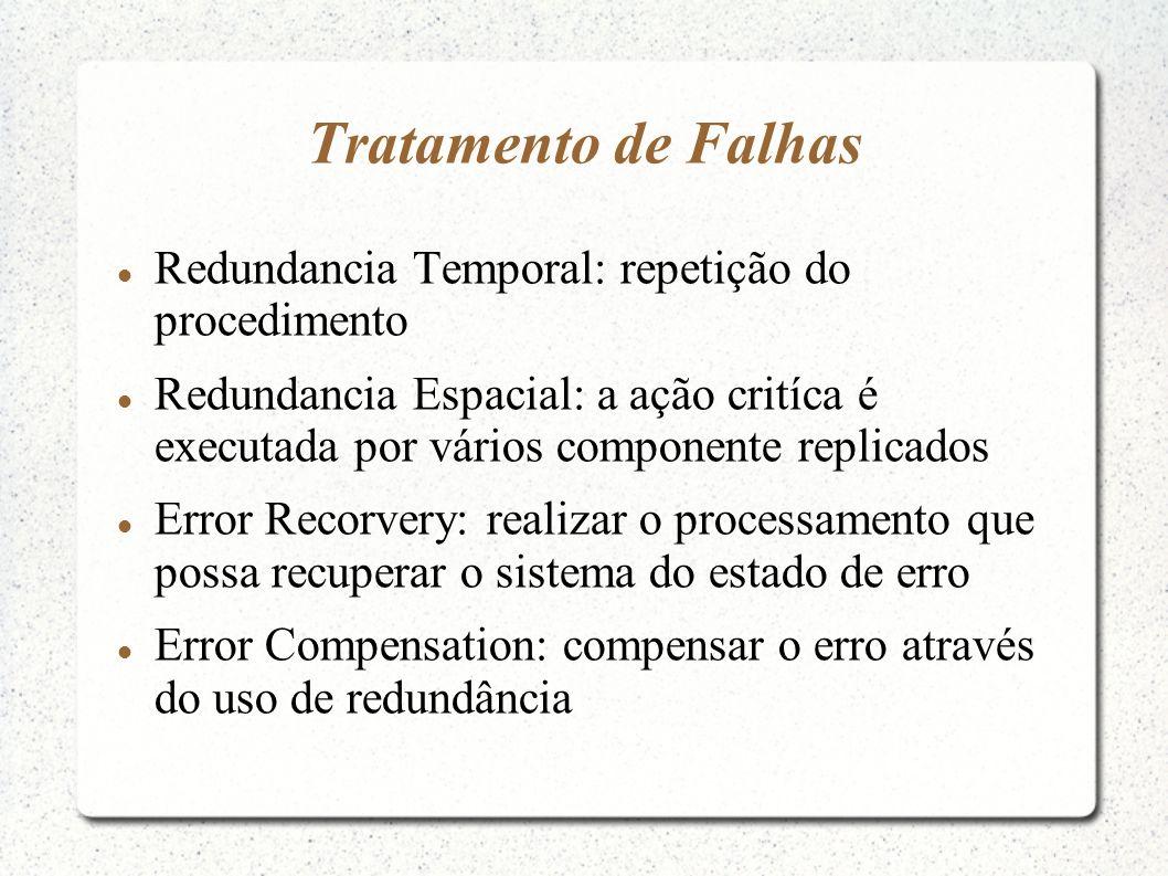 Tratamento de Falhas Redundancia Temporal: repetição do procedimento Redundancia Espacial: a ação critíca é executada por vários componente replicados