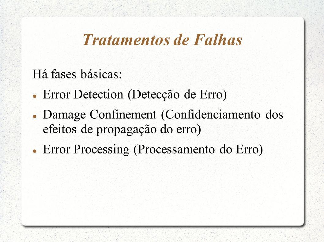 Tratamentos de Falhas Há fases básicas: Error Detection (Detecção de Erro) Damage Confinement (Confidenciamento dos efeitos de propagação do erro) Err