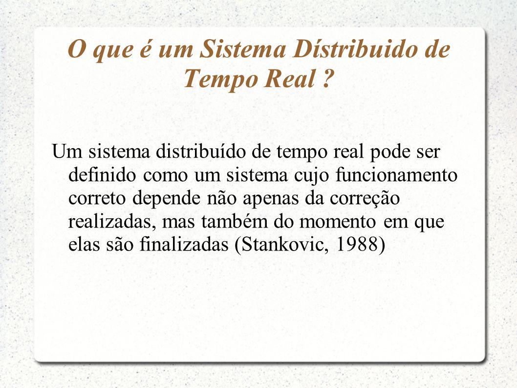O que é um Sistema Dístribuido de Tempo Real ? Um sistema distribuído de tempo real pode ser definido como um sistema cujo funcionamento correto depen