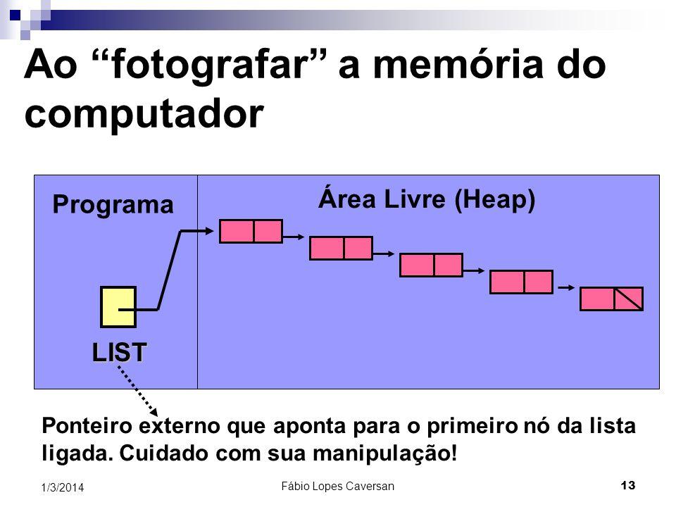 Fábio Lopes Caversan 12 1/3/2014 Revisando o mapa conceitual de um programa na memória Pilha Heap Variáveis Globais Código do Programa Endereços de re