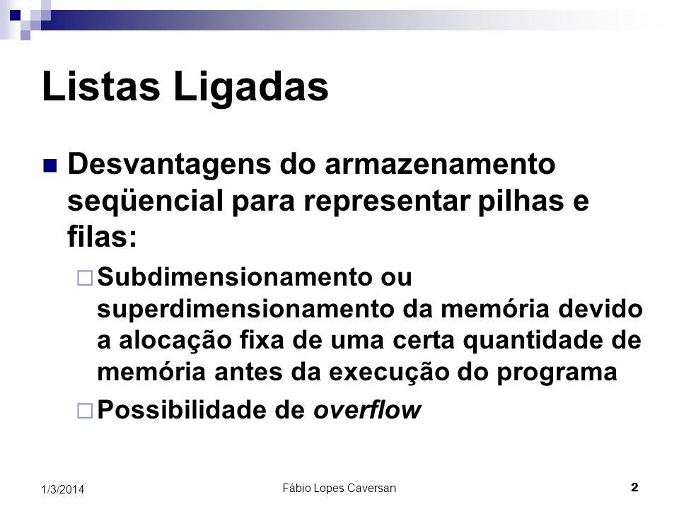 1/3/2014Fábio Lopes Caversan 1 Listas Ligadas Estruturas de Dados e Algoritmos