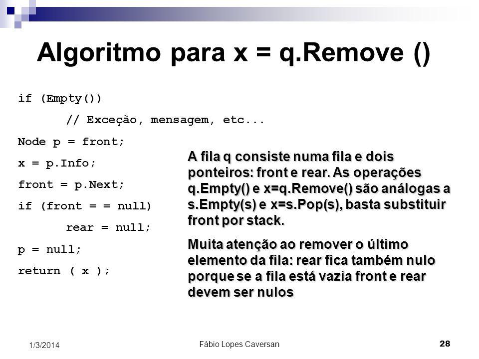 Fábio Lopes Caversan 27 1/3/2014 Uma fila usando lista ligada 3 nulo 1794 6 nulo 79341 início início final final