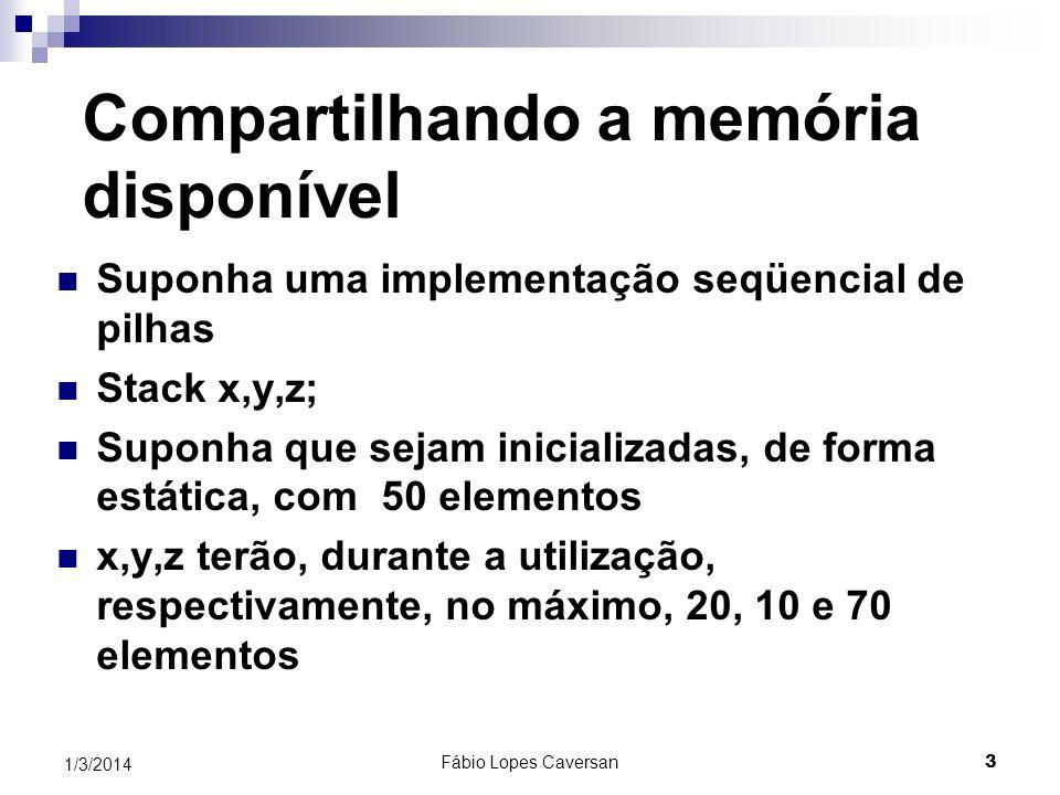 Fábio Lopes Caversan 2 1/3/2014 Listas Ligadas Desvantagens do armazenamento seqüencial para representar pilhas e filas: Subdimensionamento ou superdi
