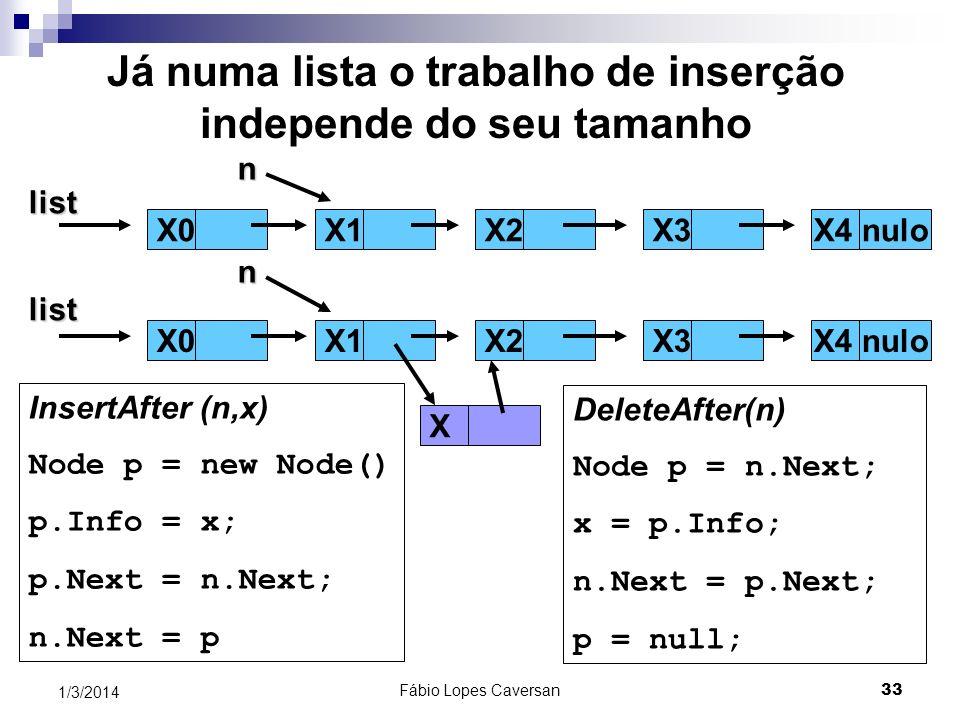Fábio Lopes Caversan 32 1/3/2014 x0 x1 x2 x3 x4 x5 x0 x1 x2 x x3 x4 x5 x6 x0 x1 x2 x3 x4 x5 Inserção de um novo elemento num vetor