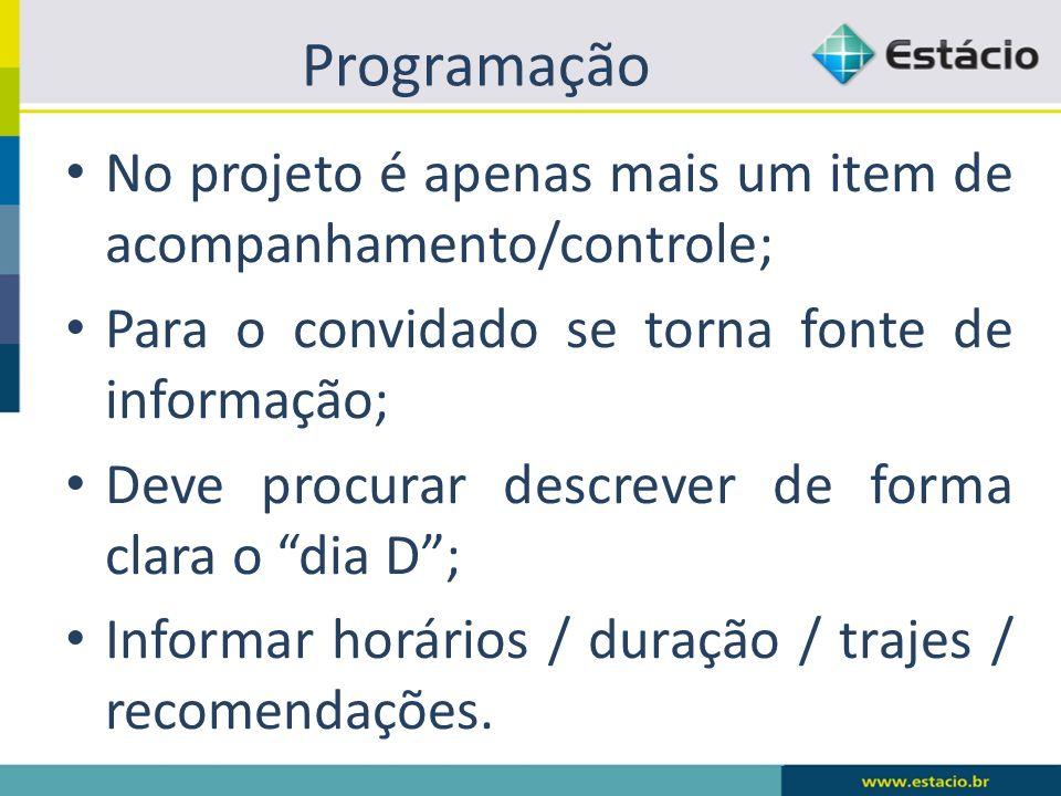 Programação No projeto é apenas mais um item de acompanhamento/controle; Para o convidado se torna fonte de informação; Deve procurar descrever de for