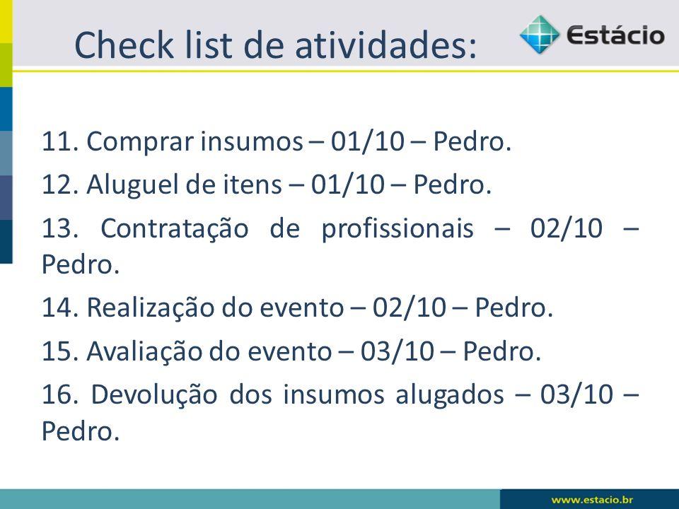 Check list de atividades: 11. Comprar insumos – 01/10 – Pedro. 12. Aluguel de itens – 01/10 – Pedro. 13. Contratação de profissionais – 02/10 – Pedro.