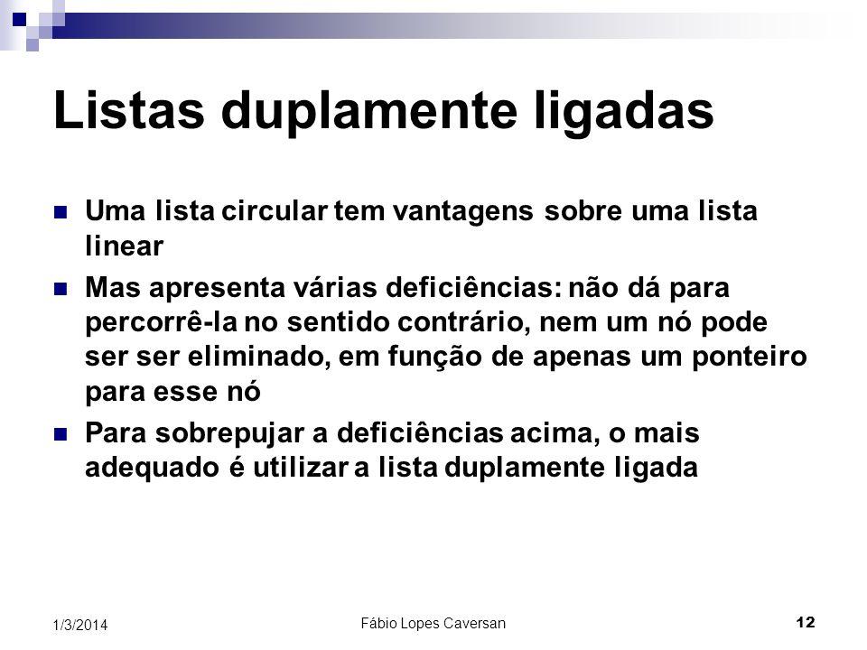 Fábio Lopes Caversan 12 1/3/2014 Listas duplamente ligadas Uma lista circular tem vantagens sobre uma lista linear Mas apresenta várias deficiências: