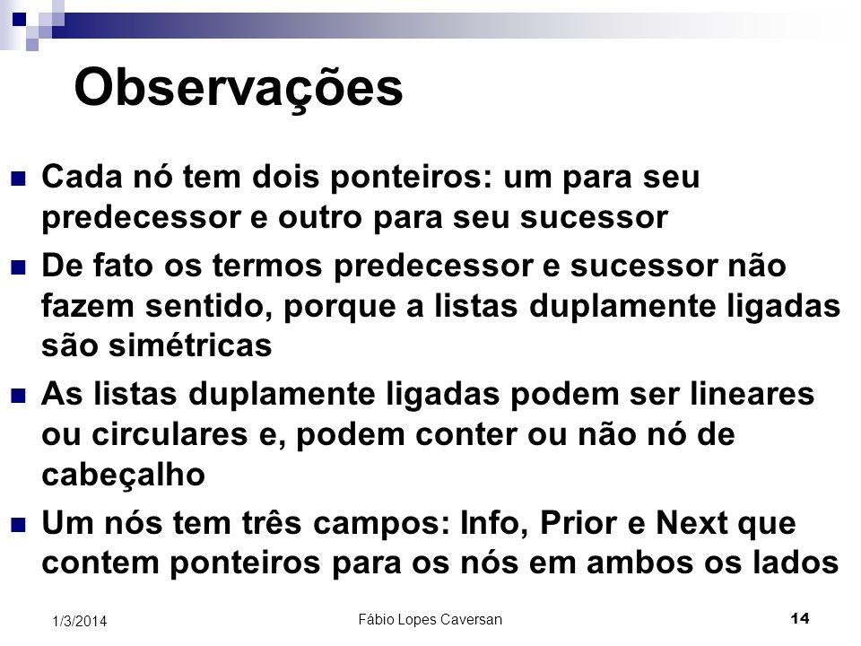 Fábio Lopes Caversan 14 1/3/2014 Observações Cada nó tem dois ponteiros: um para seu predecessor e outro para seu sucessor De fato os termos predecess