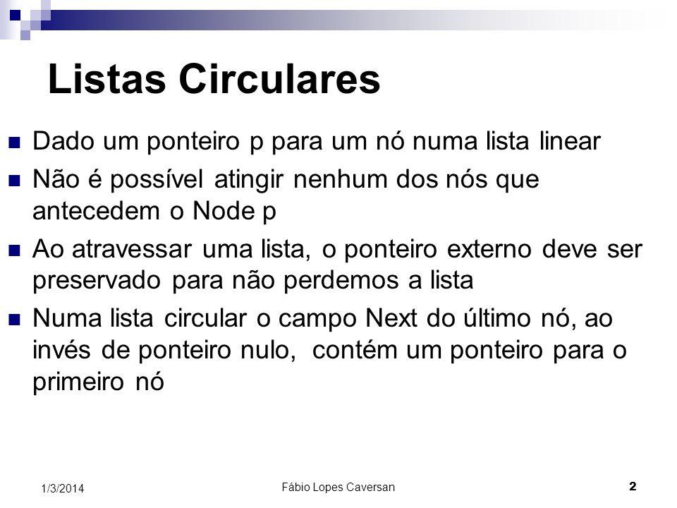 Fábio Lopes Caversan 2 1/3/2014 Listas Circulares Dado um ponteiro p para um nó numa lista linear Não é possível atingir nenhum dos nós que antecedem