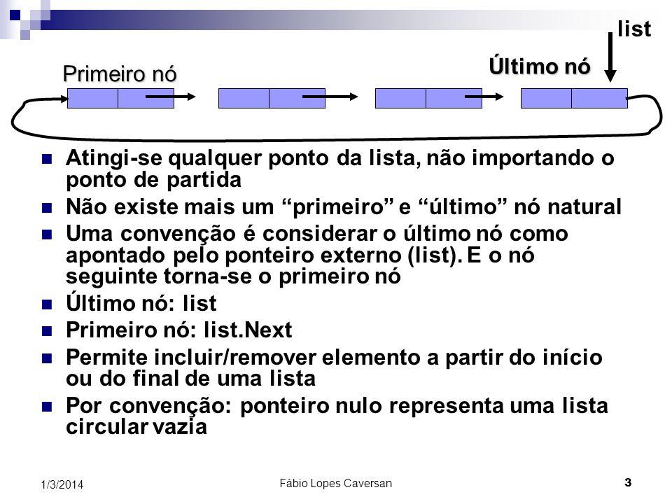 Fábio Lopes Caversan 3 1/3/2014 Primeiro nó Último nó list Atingi-se qualquer ponto da lista, não importando o ponto de partida Não existe mais um pri
