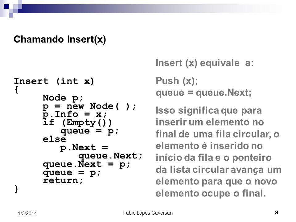 Fábio Lopes Caversan 9 1/3/2014 Operações primitivas para listas circulares InsertAfter(x) é semelhante à rotina das listas lineares public object DeleteAfter (Node p) { object x; Node q; if (( p == NULL || (p == p.Next)) throw new Exception(Não há próximo nó para remover); q = p.Next; x = q.Info; p.Next = q.Next; q = NULL; return x; }