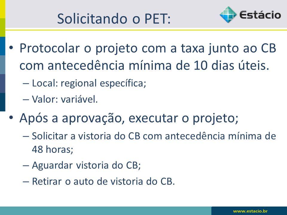 Solicitando o PET: Protocolar o projeto com a taxa junto ao CB com antecedência mínima de 10 dias úteis. – Local: regional específica; – Valor: variáv