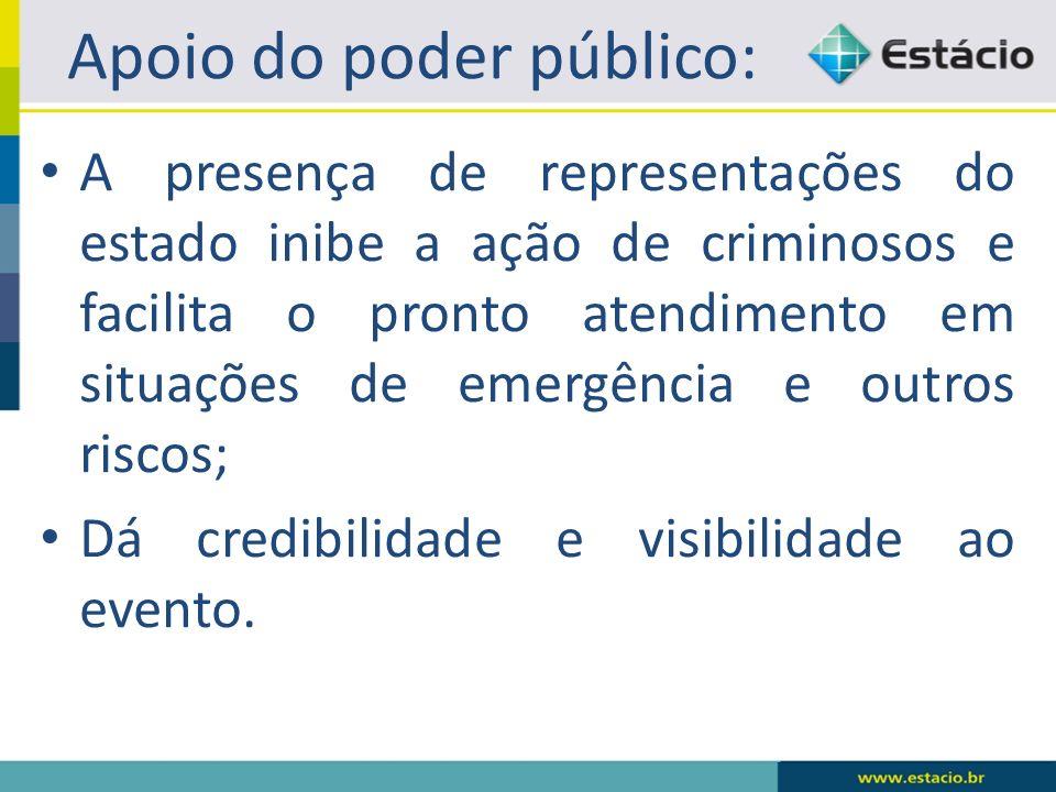 Apoio do poder público: A presença de representações do estado inibe a ação de criminosos e facilita o pronto atendimento em situações de emergência e