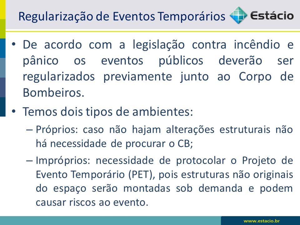 Regularização de Eventos Temporários De acordo com a legislação contra incêndio e pânico os eventos públicos deverão ser regularizados previamente jun