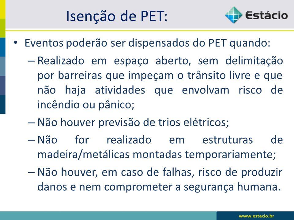 Isenção de PET: Eventos poderão ser dispensados do PET quando: – Realizado em espaço aberto, sem delimitação por barreiras que impeçam o trânsito livr