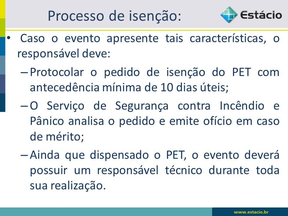 Processo de isenção: Caso o evento apresente tais características, o responsável deve: – Protocolar o pedido de isenção do PET com antecedência mínima