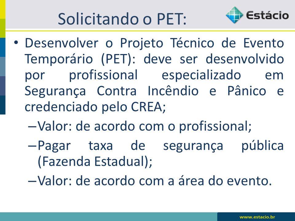 Solicitando o PET: Desenvolver o Projeto Técnico de Evento Temporário (PET): deve ser desenvolvido por profissional especializado em Segurança Contra