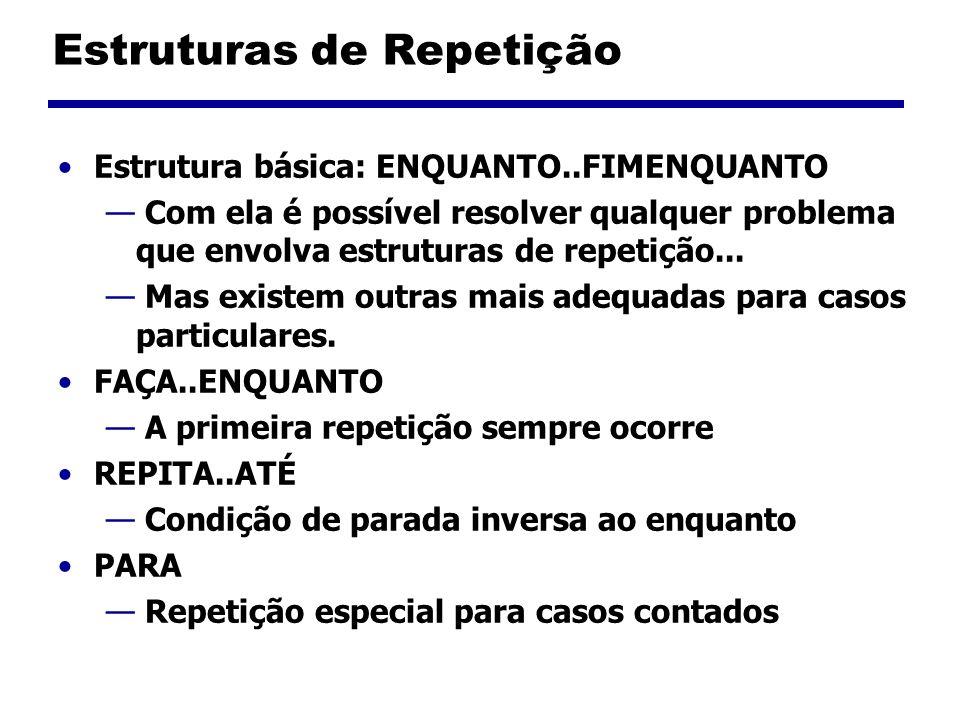 Estruturas de Repetição - ENQUANTO ENQUANTO (condição) comando 1 comando 2 comando 3 FIMENQUANTO Se a condição é verdadeira, os comandos dentro do bloco ENQUANTO são executados.