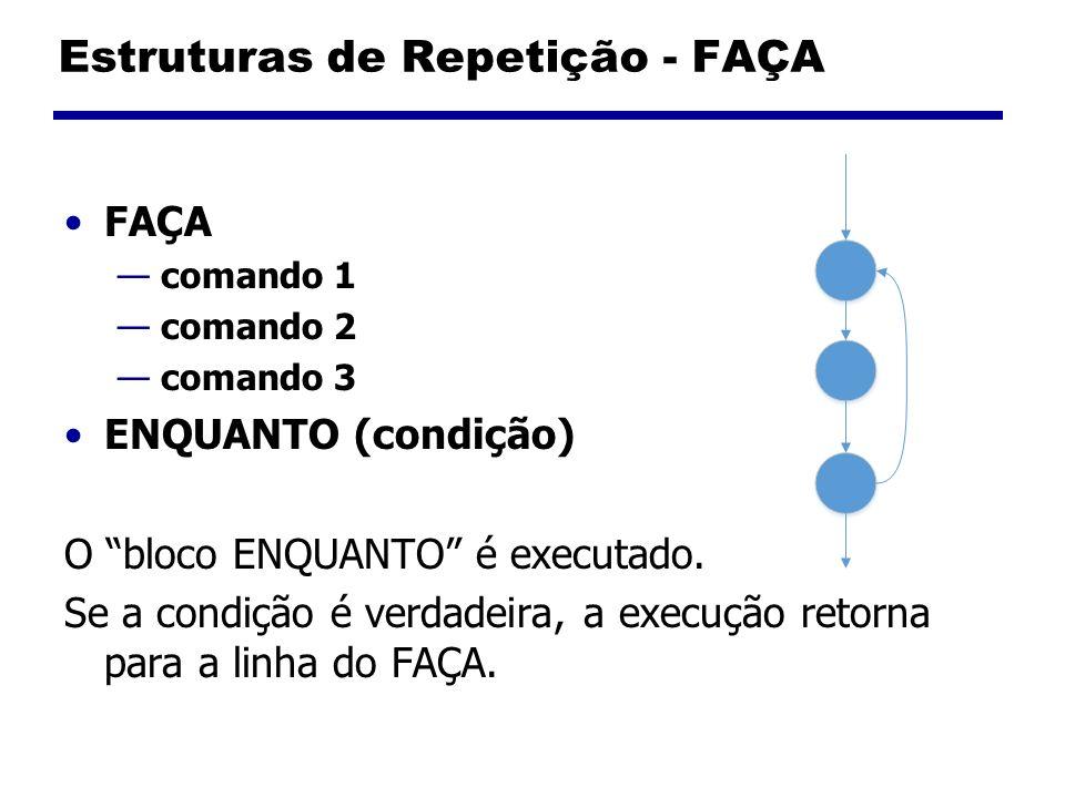 Estruturas de Repetição - FAÇA FAÇA comando 1 comando 2 comando 3 ENQUANTO (condição) O bloco ENQUANTO é executado. Se a condição é verdadeira, a exec