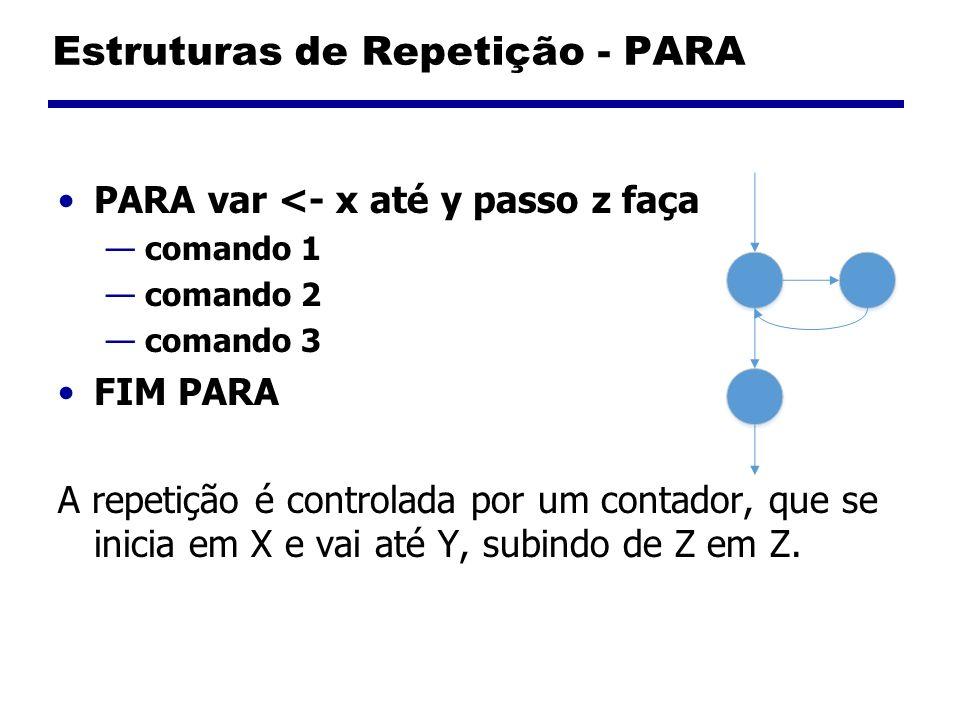 Estruturas de Repetição - PARA PARA var <- x até y passo z faça comando 1 comando 2 comando 3 FIM PARA A repetição é controlada por um contador, que s