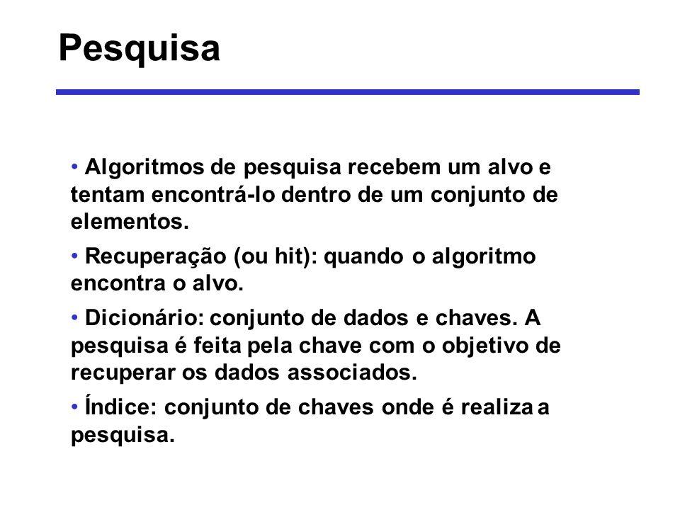 Pesquisa - Algoritmos Pesquisa sequencial ou linear Pesquisa binária Pesquisa por interpolação Pesquisa por cálculo de endereço