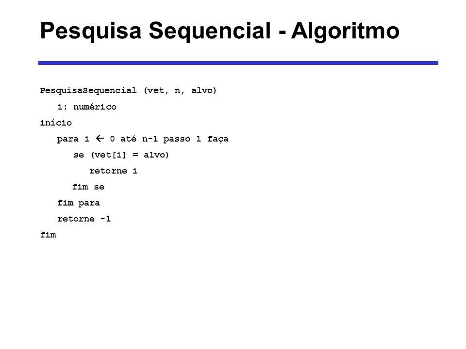 PesquisaSequencial (vet, n, alvo) i: numérico início para i 0 até n-1 passo 1 faça se (vet[i] = alvo) retorne i fim se fim para retorne -1 fim Pesquis