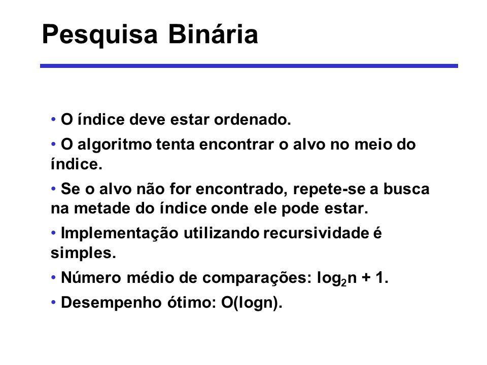 PesquisaBinaria (vet, ini, fim, alvo) i: numérico início i (ini + fim) /2 se (v[i] = alvo) returne i senão se (ini = fim) retorne -1 senão se (alvo < v[i]) retorne pesquisa(vet, ini, i-1, alvo) senão retorne pesquisa(vet, i+1, fim, alvo) fim se fim Pesquisa Binária - Algoritmo
