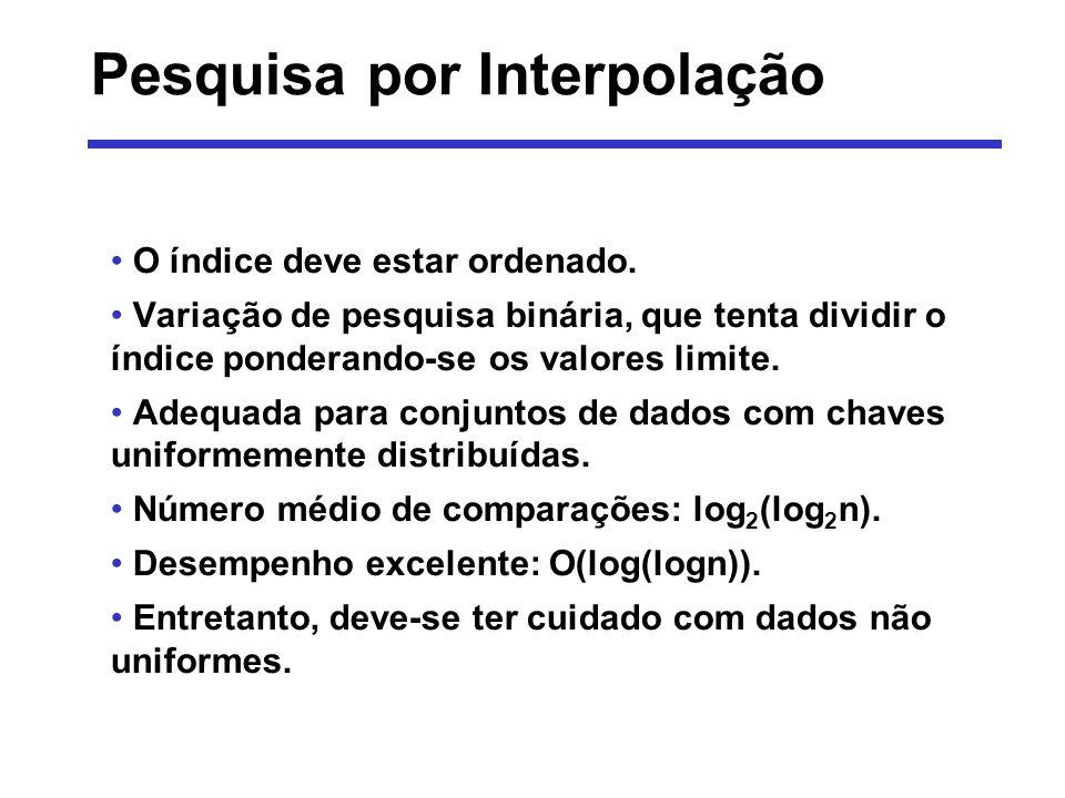 Pesquisa por Interpolação O índice deve estar ordenado. Variação de pesquisa binária, que tenta dividir o índice ponderando-se os valores limite. Adeq