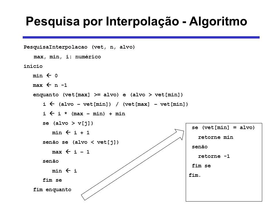 PesquisaInterpolacao (vet, n, alvo) max, min, i: numérico início min 0 max n -1 enquanto (vet[max] >= alvo) e (alvo > vet[min]) i (alvo – vet[min]) /