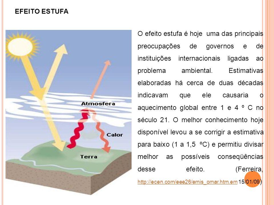EFEITO ESTUFA O efeito estufa é hoje uma das principais preocupações de governos e de instituições internacionais ligadas ao problema ambiental. Estim