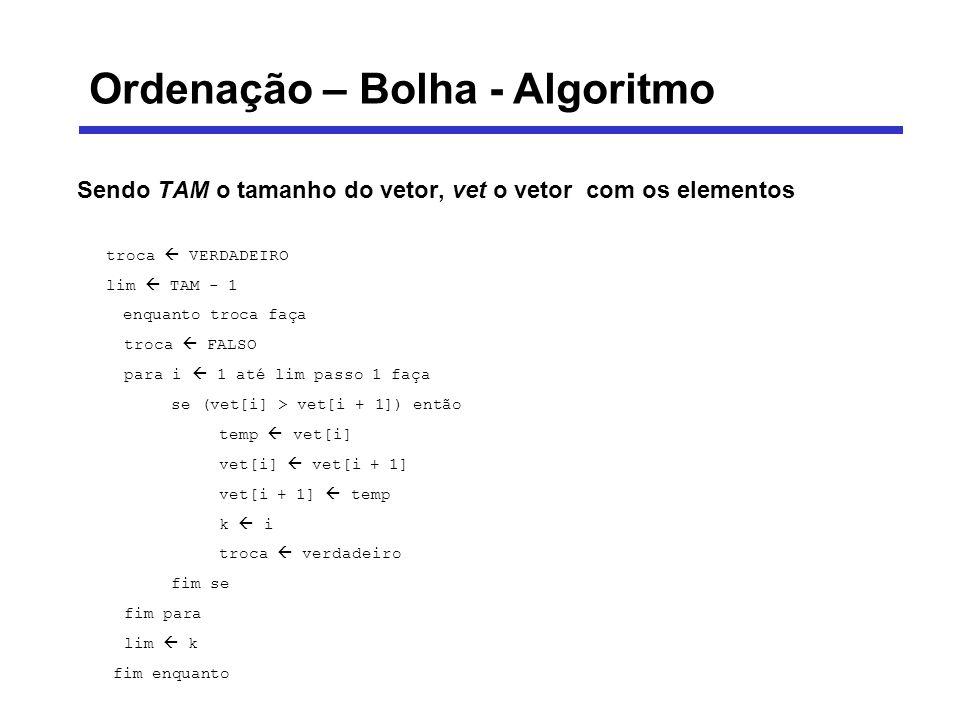 Ordenação – Bolha - Algoritmo Sendo TAM o tamanho do vetor, vet o vetor com os elementos troca VERDADEIRO lim TAM - 1 enquanto troca faça troca FALSO