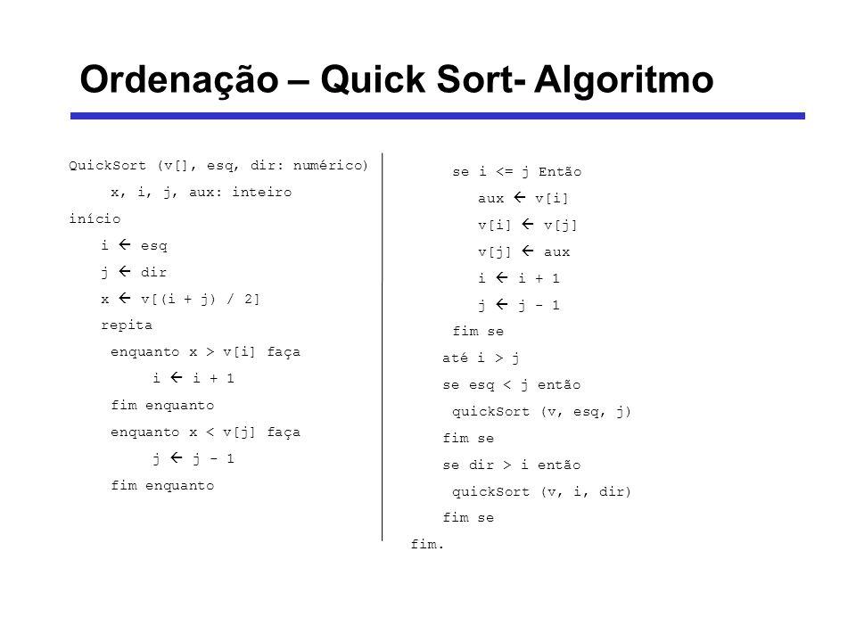 Ordenação – Quick Sort- Algoritmo QuickSort (v[], esq, dir: numérico) x, i, j, aux: inteiro início i esq j dir x v[(i + j) / 2] repita enquanto x > v[