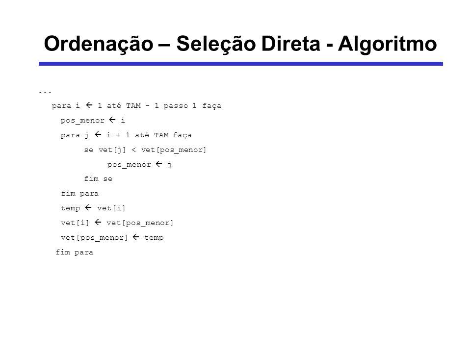 Ordenação – Seleção Direta - Algoritmo... para i 1 até TAM - 1 passo 1 faça pos_menor i para j i + 1 até TAM faça se vet[j] < vet[pos_menor] pos_menor