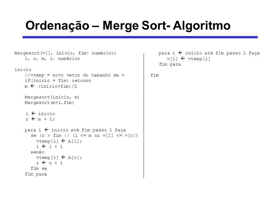 Ordenação – Merge Sort- Algoritmo Mergesort(v[], inicio, fim: numérico) l, r, m, i: numérico inicio //vtemp = novo vetor do tamanho de v if(inicio = f