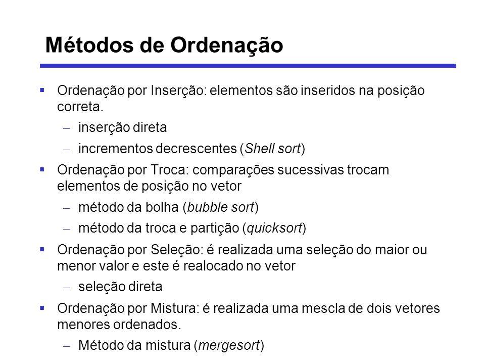 Métodos de Ordenação Ordenação por Inserção: elementos são inseridos na posição correta. – inserção direta – incrementos decrescentes (Shell sort) Ord