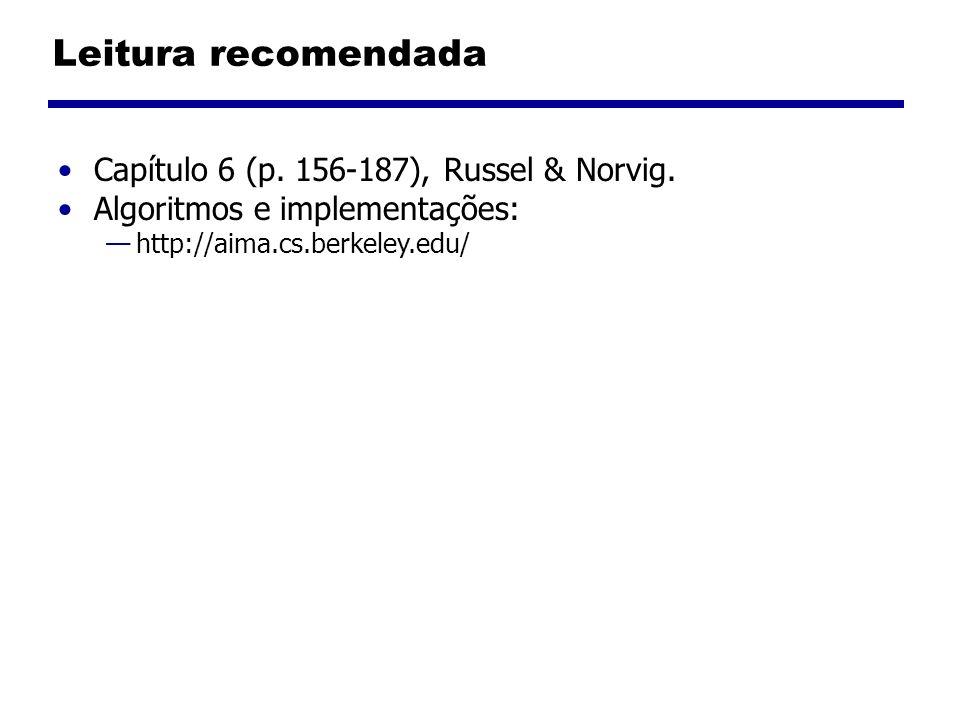 Leitura recomendada Capítulo 6 (p. 156-187), Russel & Norvig. Algoritmos e implementações: http://aima.cs.berkeley.edu/